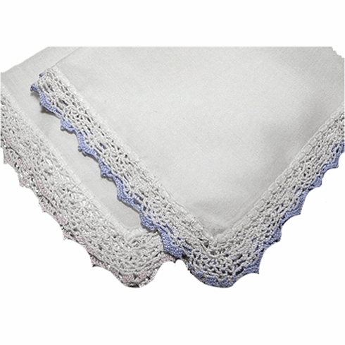 Beautiful High Quality White with Pink or Blue Tipped Crochet Lace Handkerchief