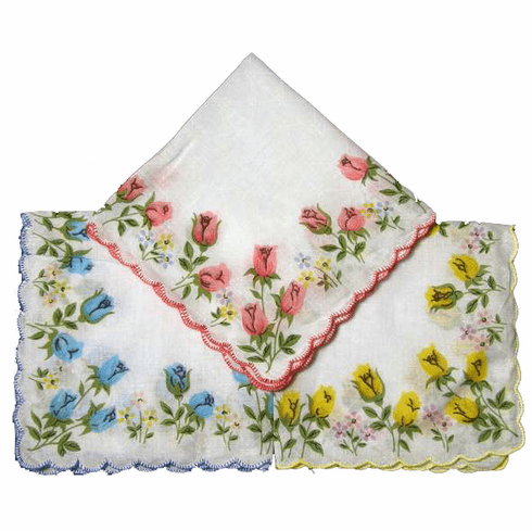 Beautiful Printed Floral Roses Handkerchief Scalloped Edges