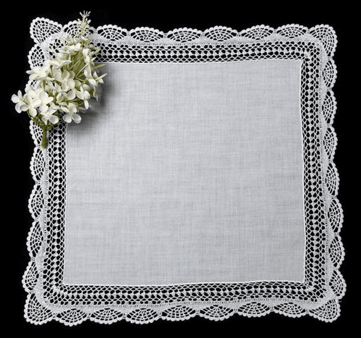 Beautiful White Crocheted Lace Wide Border Ladies' Handkerchief