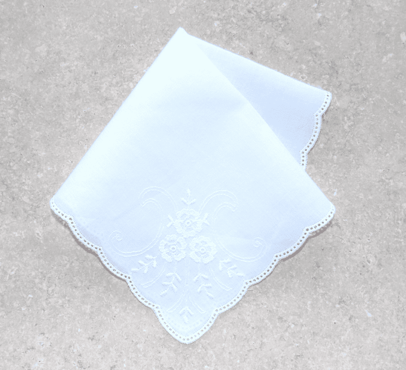 Beautiful White on White Floral Scrollwork 100% Cotton Ladies Handkerchief