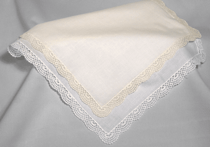 Beautiful White or Ivory Shell Lace Handkerchief Personalize Me