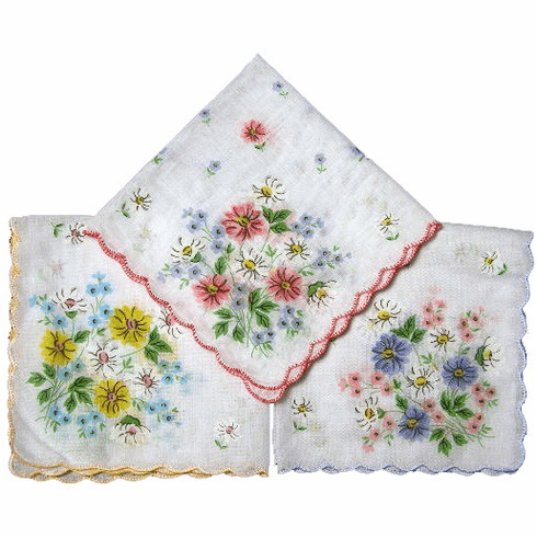 Beautiful White Printed Floral Handkerchief Scalloped Edges