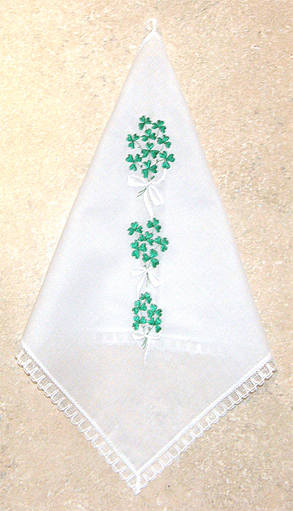 Beautiful White with Green Shamrock Embroidered Bouquet 100% Cotton Handkerchief