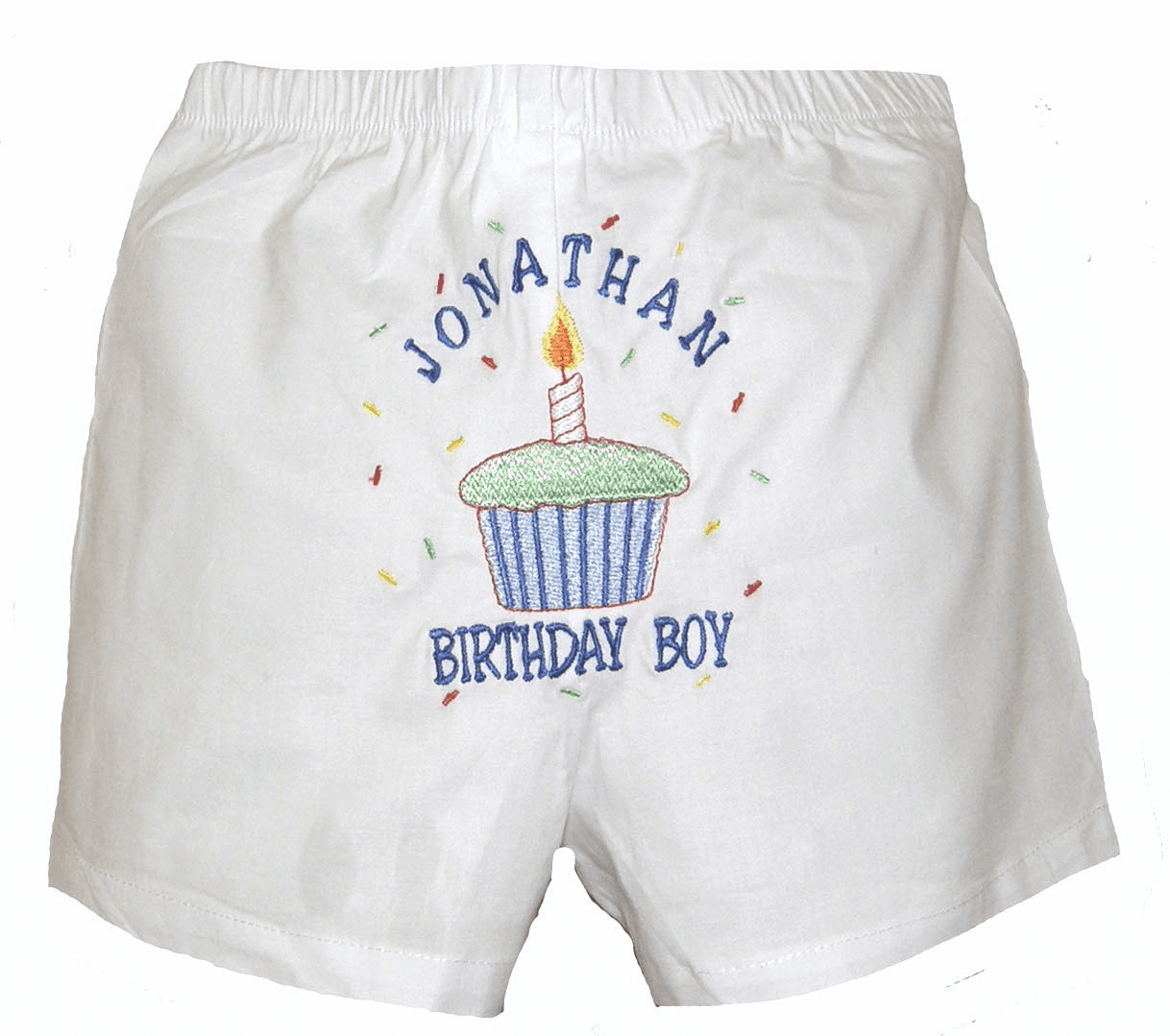 Birthday Boy Cupcake and Confetti Personalized Baby Infant Boxers White