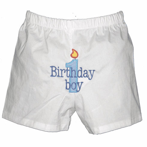 Birthday Boy with Candle Personalized Baby Infant Boxers White