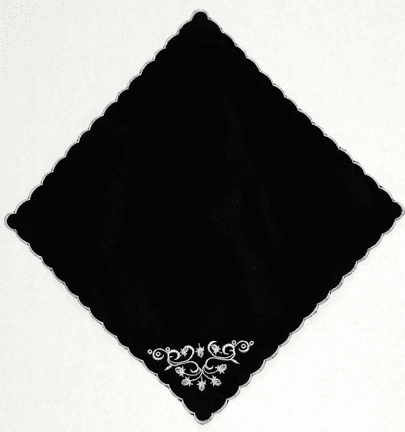 Black and White Floral Scroll Handkerchief