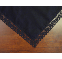 Black Cotton Lace Trimmed Handkerchief