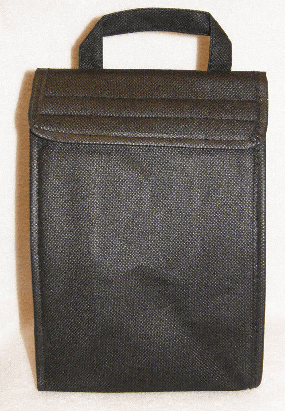 Black Insulated ECO Lunch Bag Tote Non Woven Polypro
