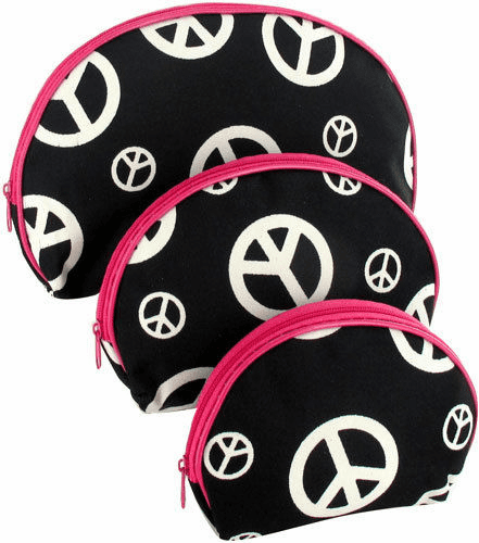 Black Peace Sign Pink Trim Nesting Cosmetic Bag Set 3