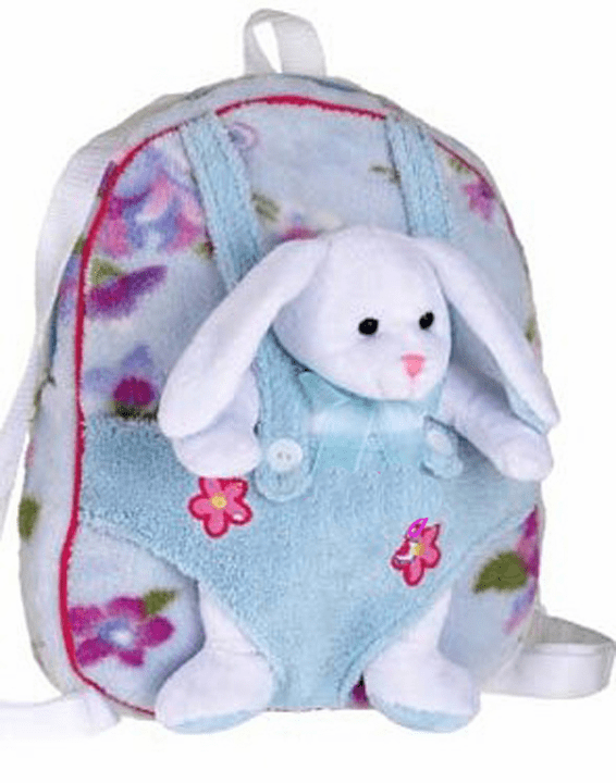 Blue Flower Plush Backpack with Removable Plush Bunny