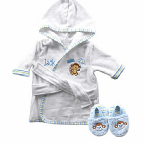 Blue Monkey Terry Baby Bath Robe & Slippers Set Personalize Me