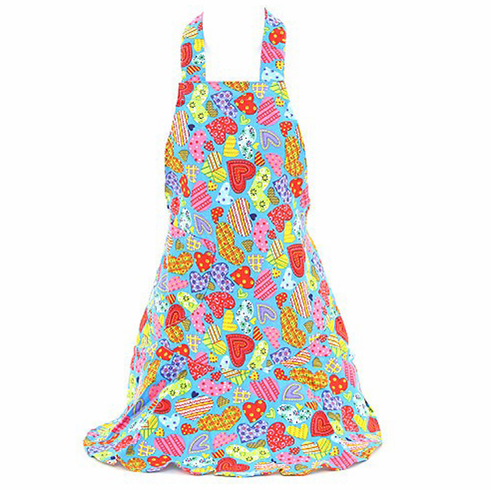 Blue Patchwork Hearts Print Apron 100% Cotton