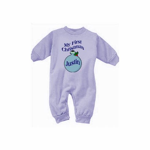 Boy's My First Christmas Personalized Ornament Fleece Romper
