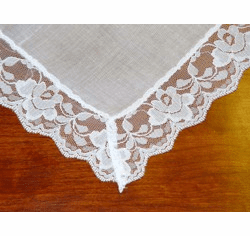 Bridal Rose Lace White Handkercheif 1-7/8 Lace Trim