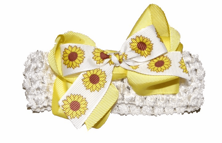 Bright Yellow Sunflower Bow on Crocheted Headband