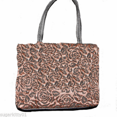 Brown Black Rose Embossed Handbag Bag Purse