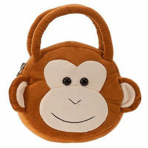 Brown Plush Monkey Purse Handbag Tote Bag