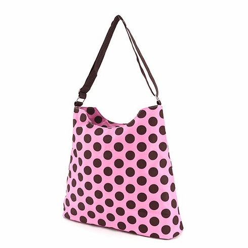 Personalized Brown Polka Dots on Pink Large Shopper Tote