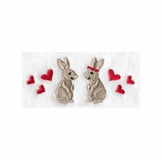 Bunnies Handkerchief Embroidery Design hank6