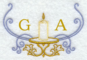 Candle Handkerchief Embroidery Design hank29