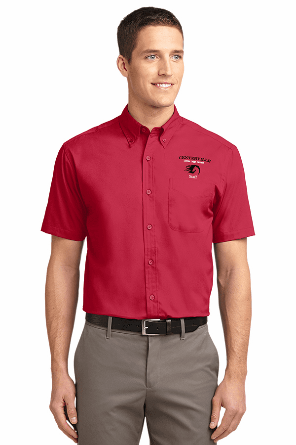 Centerville Short Sleeve Easy Care Button-Up Shirt Four Colors