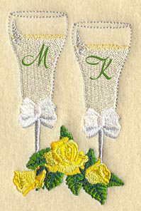 Champagne Flutes Wedding Embroidery Handkerchief Design hank31