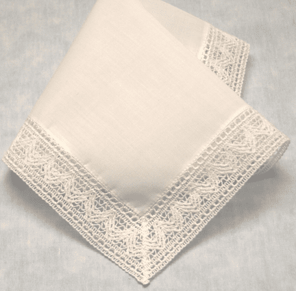 Chapel Lace Cotton Lace Edge Handkerchief