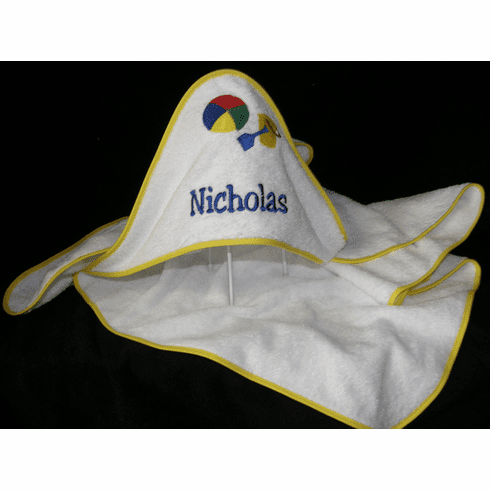 Child or Infant 100%Terry Cotton Hooded Towel (Yellow Pail) Personalize Me