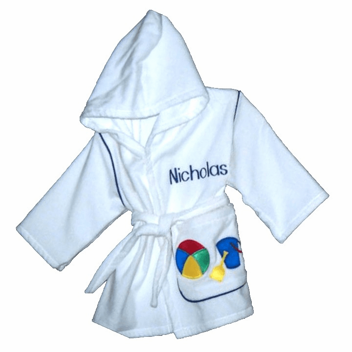 Child or Teen 100%Terry Cotton Hooded Robe (Beach w/Blue Pail)