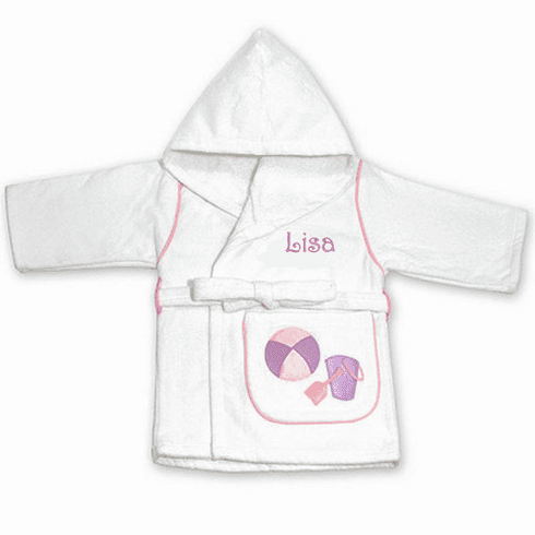 Child or Teen 100%Terry Cotton Hooded Robe (Beach w/Purple  Pail)