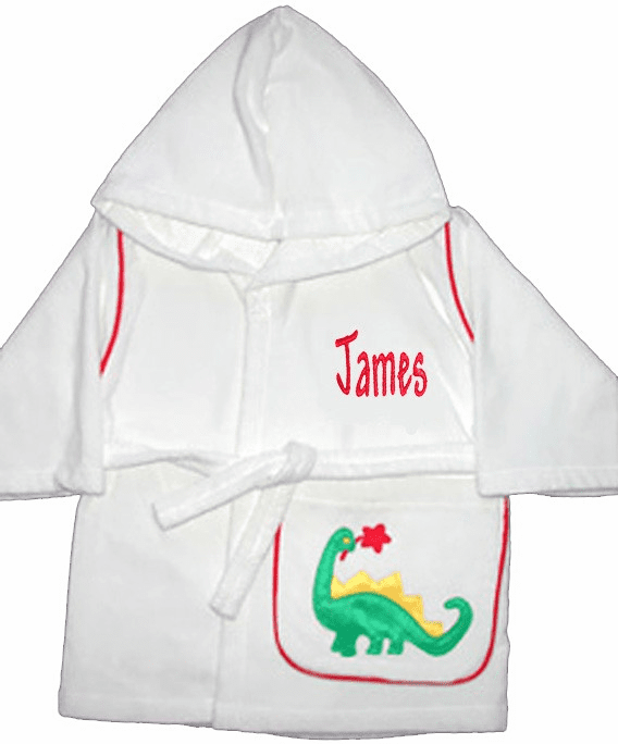 Child or Teen 100%Terry Cotton Hooded Robe (Dinosaur) Personalize Me