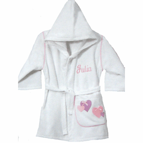 Child or Teen 100%Terry Cotton Hooded Robe (Hearts) Personalize Me