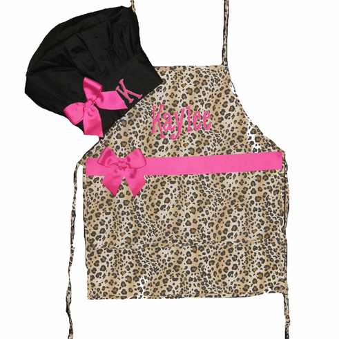 Child's Cheetah Print Apron & Black Chefs Hat Pink Embroidery and Trim