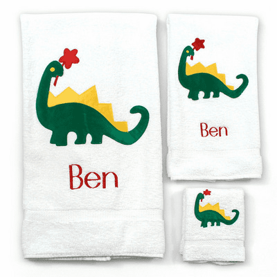 Childs 100% Super Plush Cotton Towel Set (Dinosaur)
