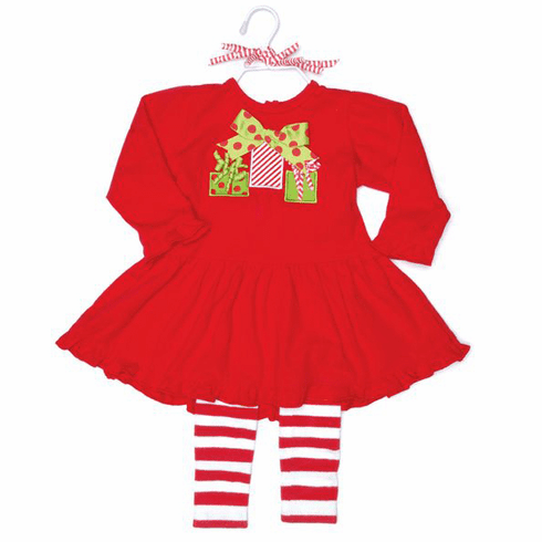 Christmas Red Dress with Leggins by Mud Pie