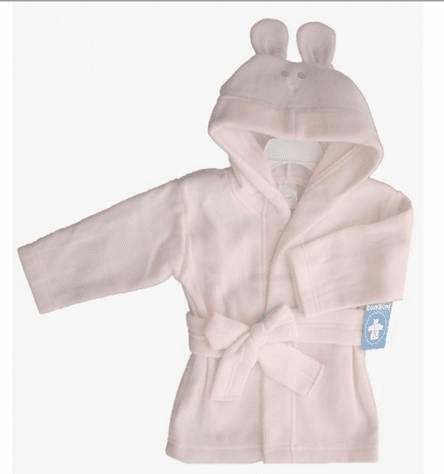 Clearanced Infant Pink Fleece Bunny Hooded Baby Robe
