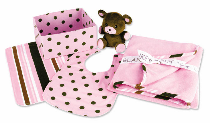 Clearanced Pink Polka-Dot 5 Piece Gift Box Blanket, Bib, Burp, Bear, Box