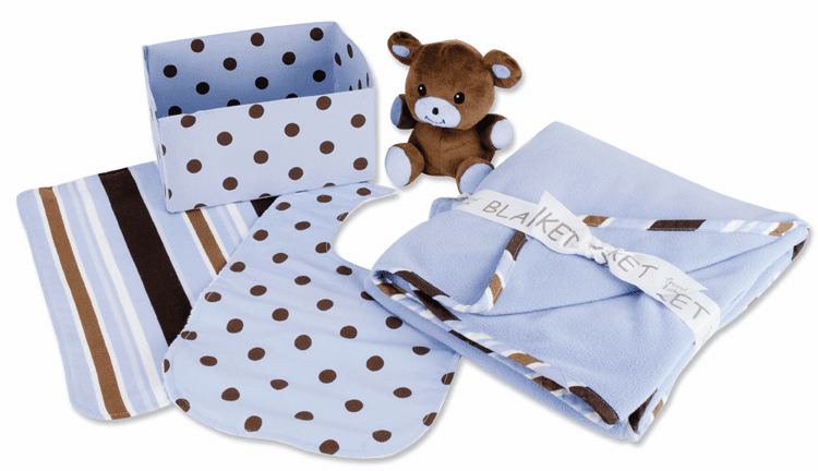 Clearanced Sky Blue Polka-Dot 5 Piece Gift Box Blanket, Bib, Burp, Bear, Box