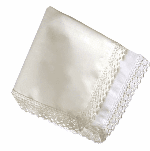 Country Manor Lace Handkerchief  White or Ivory Personalize with Embroidery