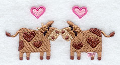 Cow Kisses Handkerchief Embroidery Design hank13