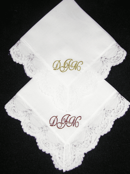 Cusom Made Monogrammed White LaceLadies Handkerchief
