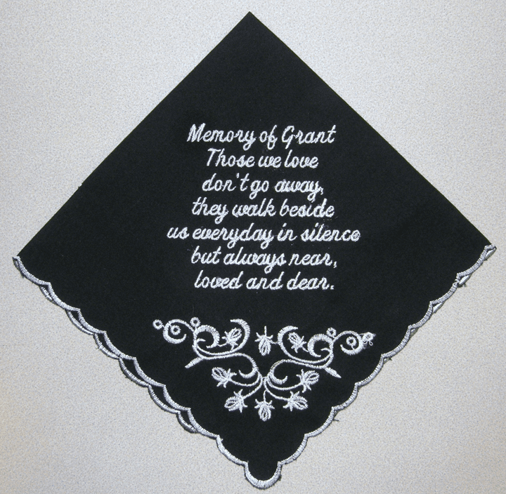 Custom Black Scalloped Edged In Memory Of Handkerchief
