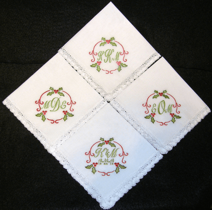 Custom Christmas Wedding Handkerchiefs