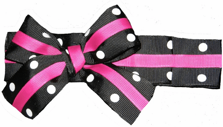 Custom Made Black Dot and Hot Pink Ruffled Ribbon on Lycra Headband