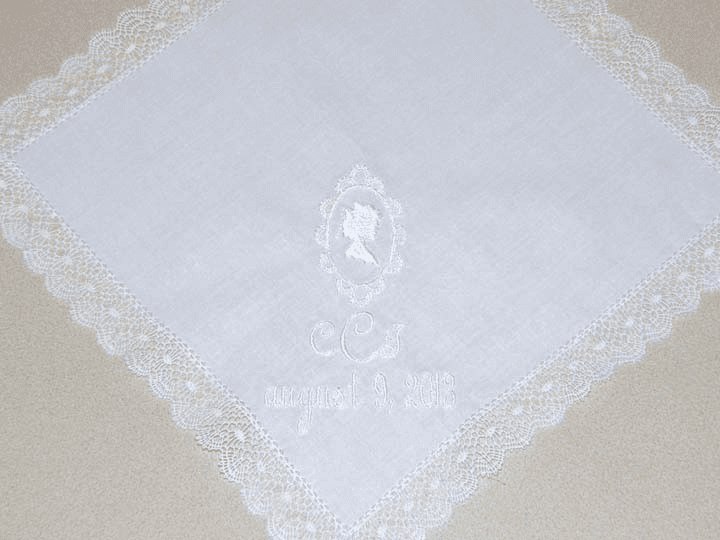 Custom Made Cameo White Wedding Handkerchief