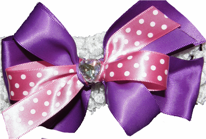 Custom Made Hairbow Purple, Pink Dots & Heart Shaped Crystal