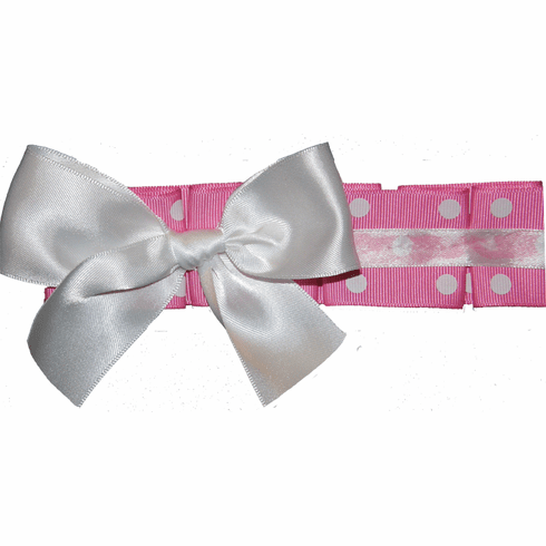 Custom Made Pink Dot Ruffled Ribbon & Bow on Lycra Headband