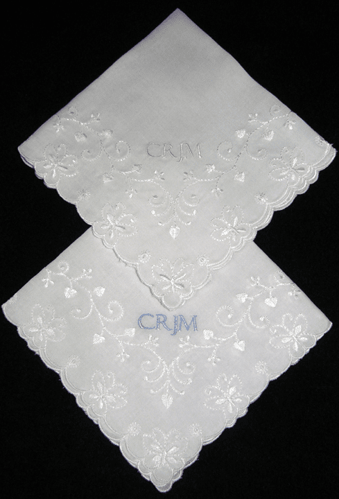 Custom Monogrammed White Fully Embroidered Stunning Wedding Handkerchief