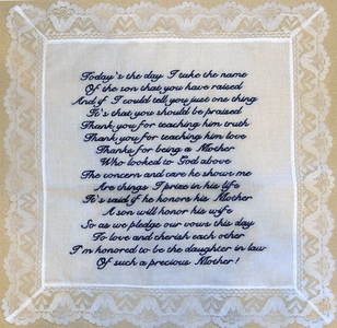 Custom Personalized Poem Embroidered on Handkerchief