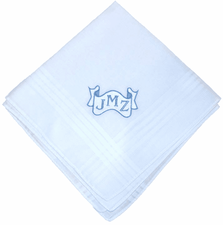 Custom Scroll Men's White Satin Stripe Handkerchief